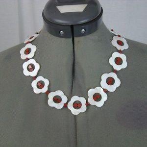 Necklace White Flowers Red Stars Toggle Rhinestone
